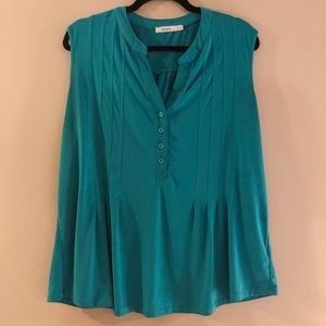 Tops - Stretchy sleeveless top with buttons, teal Ricki's